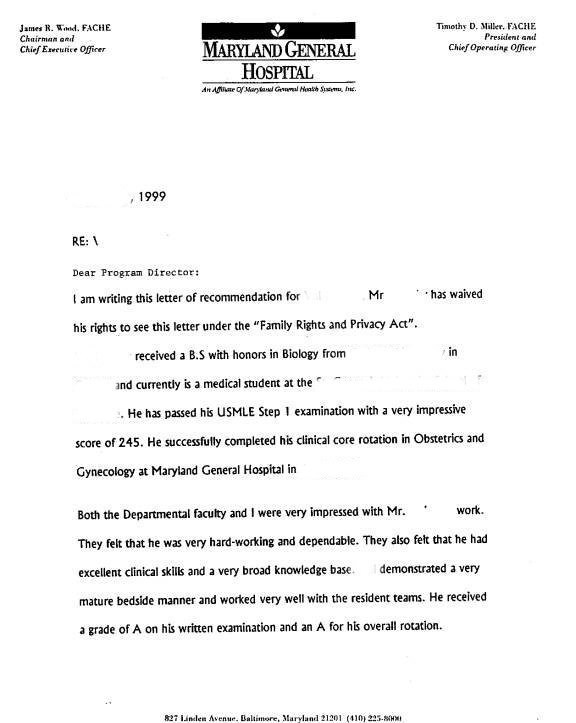 letter of re mendation sample 2
